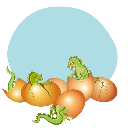 Vector  Illustration of  baby dragons breaking free from his egg Vector