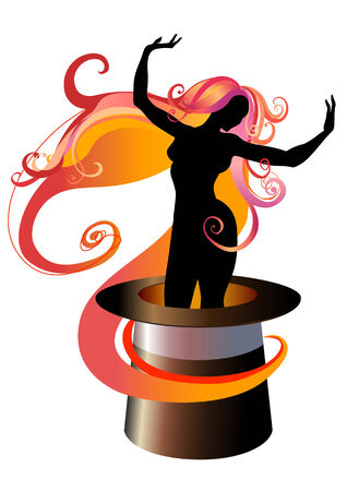 Vector  Illustration of Girl Silhouette dancing on a Magicians top hat Vector