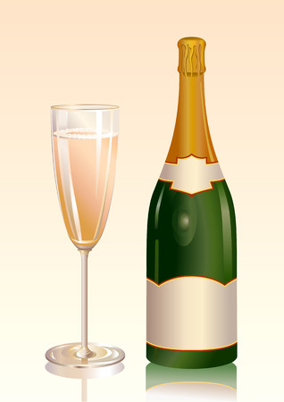 Vector illustration of  Classic, attractive bottle of champagne with a blank label and a glass with champagne Illustration