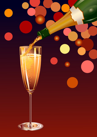 Vector illustration of  Classic, attractive glass with champagne and a bottle of champagne with a blank label  Vector