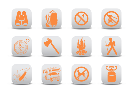 relating: Vector illustration of  icon set or design elements relating to camping tourism