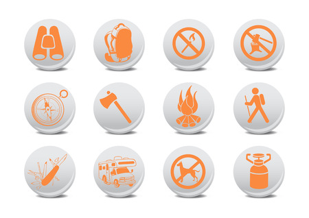 penknife: Vector illustration of camping buttons .You can use it for your website, application or presentation