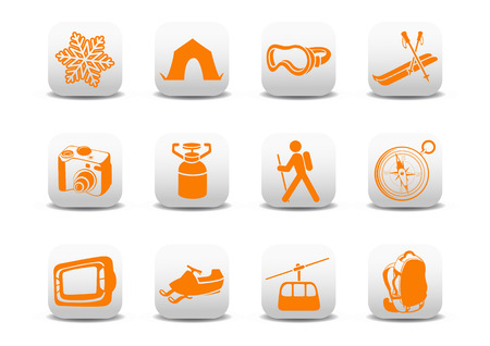 penknife: Vector illustration of winter campingski icons .You can use it for your website, application or presentation