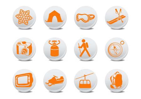 Vector illustration of winter camping/ski buttons .You can use it for your website, application or presentation Stock Vector - 4056017