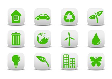 tu puedes: Ilustraci�n vectorial de iconos ecol�gicos. Se puede utilizar para su sitio web, solicitud o presentaci�n Vectores