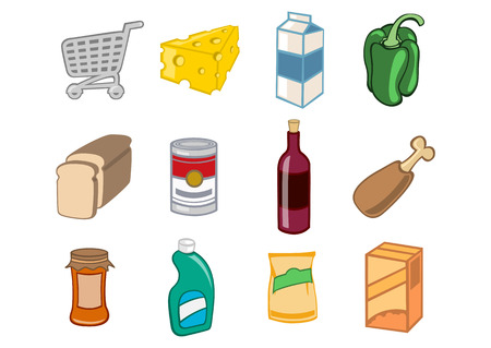 relating: Vector illustration of  icon set or design elements relating to supermarket. Food, drink and other items.