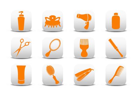 Vector illustration du jeu d'ic�nes ou de la conception d'�l�ments relatifs au salon de coiffure.