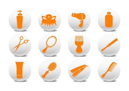 Vector illustration of  buttons set or design elements relating to hairdressing salon. Stock Vector - 4056012