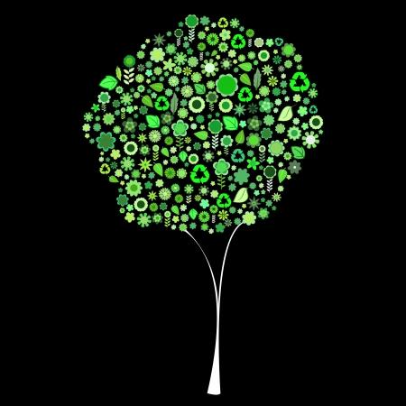 petites fleurs: Vector illustration de l'arbre forme d'un lot de petites fleurs vertes et des feuilles sur le fond noir