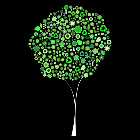 Vector illustration of tree shape made up a lot of  green small flowers and leaf on the black background Vector