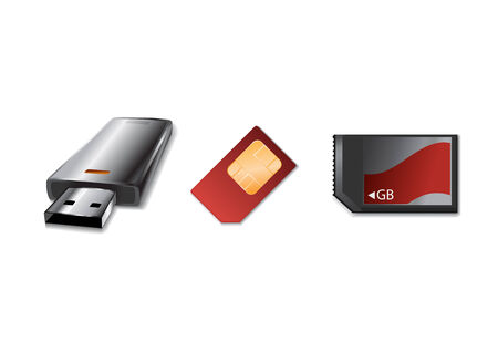 gsm phone: Vector illustration of modern, hi-tech  memory  Device icons.