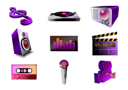 Vector illustration of musicaudio icon set .You can use it for your website, application or presentation Vector