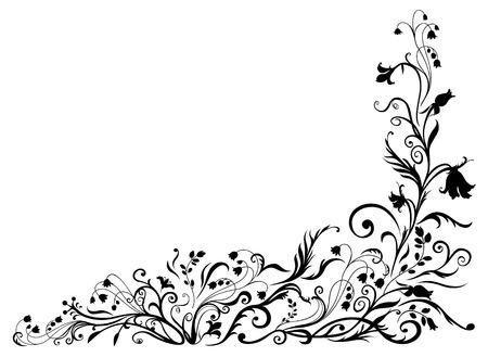 esquineros de flores: Vector de Illuctration patr�n floral negro. Elementos de dise�o de adornos decorativos. Vectores