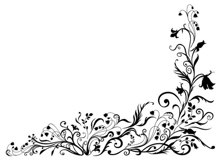 Vector Illuctration of floral black pattern. Design elements of  Decorative ornament. Vector