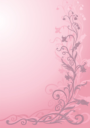 pink bushes: Vector Illuctration of floral pattern on pink background . Design elements of  Decorative ornament. Illustration