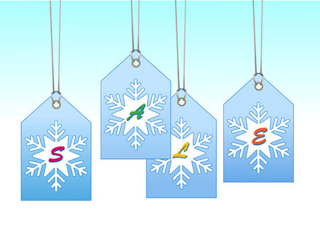 Vector Illuctration of  labeltags with snowflake shape. You can use it for christmas shopping concept Vector