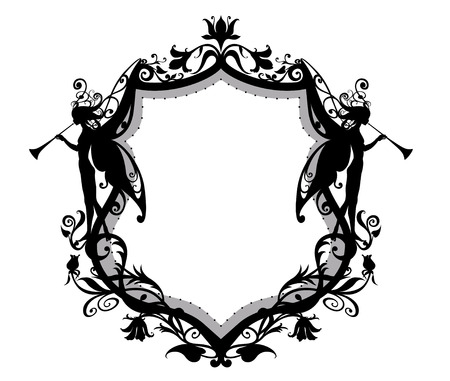 Vector Illuctration of Heraldic frame with floral Decorative ornament and two fairys with magic fife