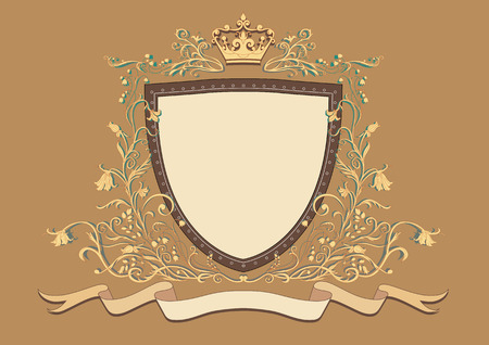 Vector Illuctration of Heraldic shield with floral Decorative ornament and crown on the top. Vector