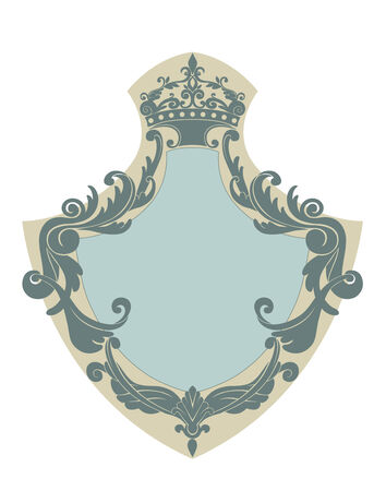 blazonry: Vector Illuctration of Heraldic shield with floral Decorative ornament and crown on the top. Illustration
