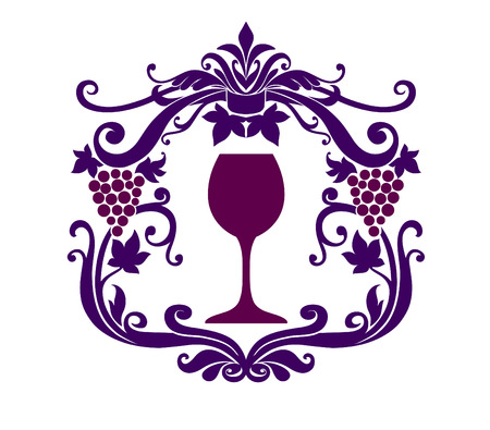 Vector Illuctration of Decorative frame with floral ornament , grape vine and wineglass