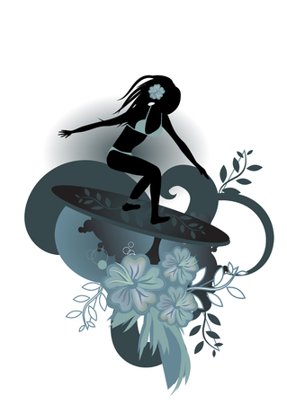 Vector illustration of a very curvy female surfer emerging from the waves with stylized hibiscus and others floral elements Vector
