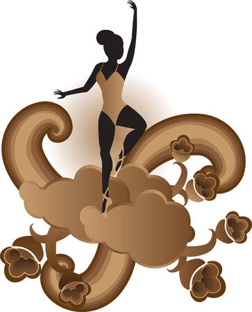 Vector illustration of Ballet Dancer on Toes with stylized floral elements Vector