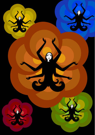 Vector illustration of stylized fairy Indian woman , seating in lotus pose on the sunny, flower background Vector