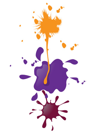 Vector illustration of three separate groups of paint blobs  Vector