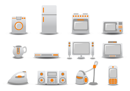 commercial kitchen: Vector illustration of Household Appliances icons. You can decorate your website, application or presentation with it.