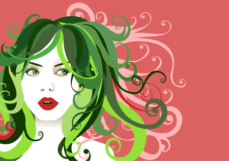 Vector illustration of funky, cool, young woman portrait on the pink background. Stock Vector - 4093887