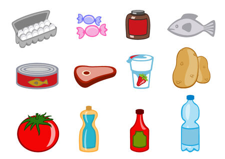 canned goods: Vector illustration of food icons. You can decorate your website, application or presentation with it.