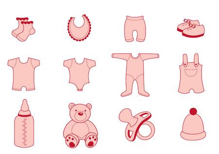 Vector illustratie set van baby Kleding en Accessoires Icons