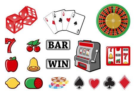 slots: Ilustraci�n vectorial serie de iconos o elementos de dise�o relacionados con el casino. Vectores