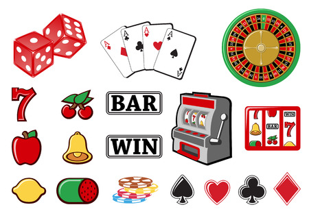 Vector illustration of  icon set or design elements relating to casino. Vector