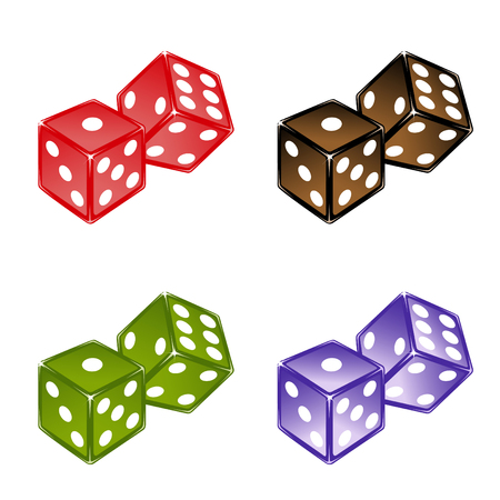 Vector illustration of beautifull, colored dices set. Vector