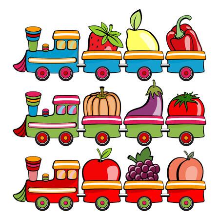 Ilustración vectorial de divertidos dibujos animados de trenes, pasando de los frutos y hortalizas