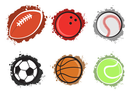 Vector illustration of different sport balls on the grunge background.  Vector