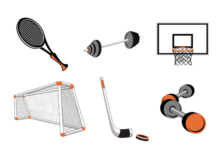relating: Vector illustration of  icon set or design elements relating to sports-football, basketball, tennis, hockey and fitness. Illustration