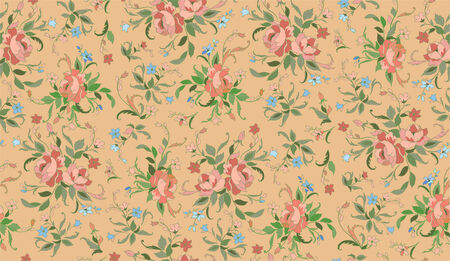 biege: Vector Illuctration of floral pattern on the biege background.
