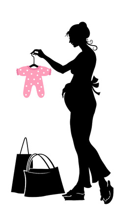 Vector illustration of pregnant woman during the shopping.  Vector