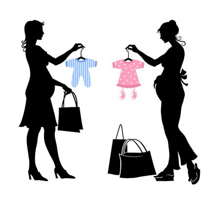 Vector illustratie van twee zwangere vrouwen tijdens het winkelen.
