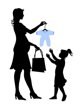 anticipation: Vector illustration of pregnant woman during the shopping with the little girl.