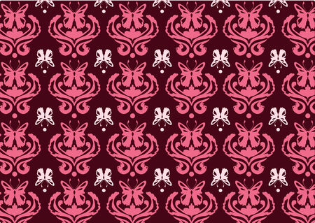 Vector illustraition of retro abstract floral  Pattern background decorated with butterflies.