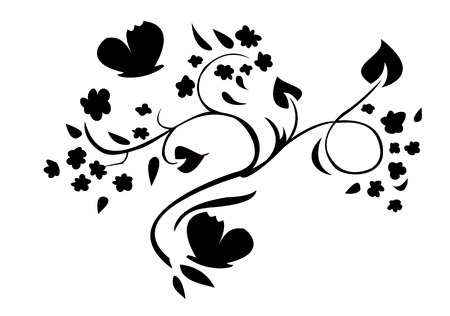 Vector illustraition of retro abstract floral swirl element Vector