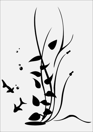 illustraition: Vector illustraition of retro abstract floral swirl elements with fish and algae Illustration