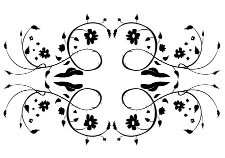 illustraition: Vector illustraition of retro abstract floral swirl elements