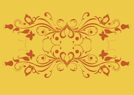 Vector illustraition of retro abstract floral swirl elements Vector