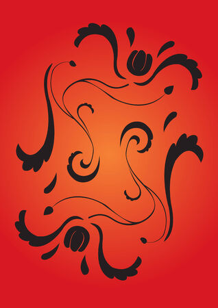 Vector illustraition of retro abstract floral swirl background
