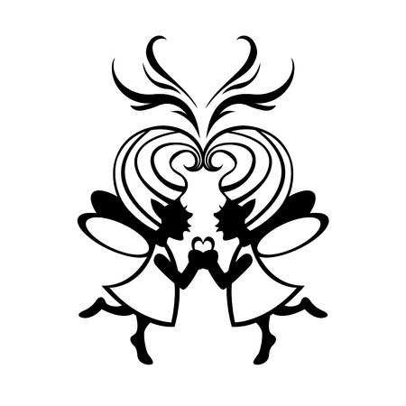 Vector  Illustration Silhouette of two simmetric fairies with magic heart on the middle. Vector
