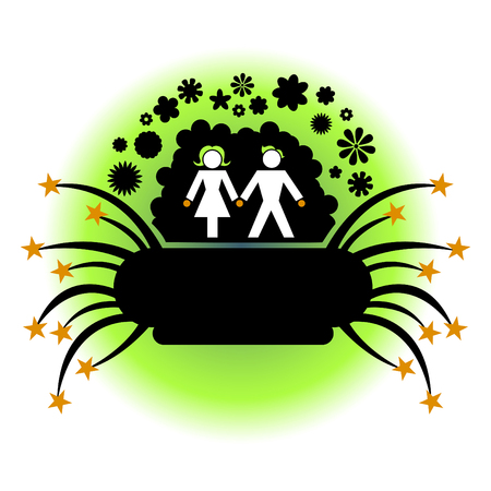 Vector illustration of couple silhouette on the funny floral and stars background. Vector